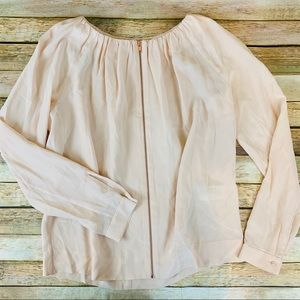 COS 100% Silk Peach Zip Up Loose Fit Blouse Size 4